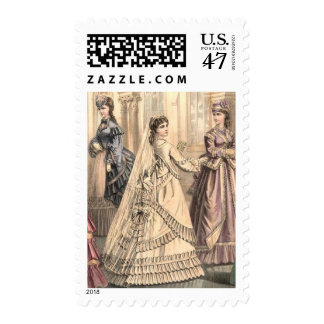 Victorian Bride and Attendants Postage Stamp