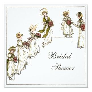 """Victorian Bride and Bridesmaids Bridal Shower 5.25"""" Square Invitation Card"""