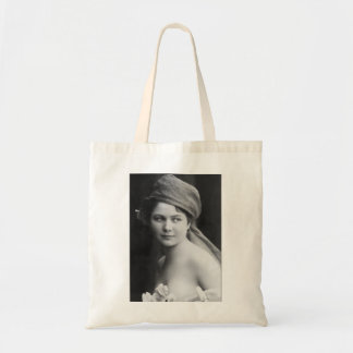 victorian bride black and white, flowers soft port tote bag