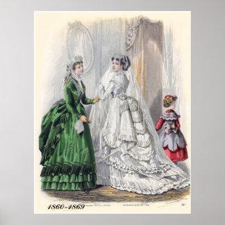 Victorian Bride Illistration Fashions Poster Print