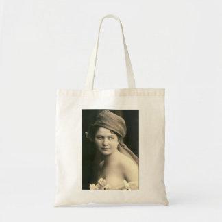 victorian bride sepia, flowers soft portrait tote bag