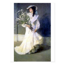 Victorian bride wedding fashion postcard