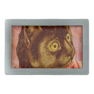 Victorian Brown Cat With Coral Ribbon Bow Rectangular Belt Buckle
