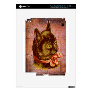 Victorian Brown Cat With Coral Ribbon Bow iPad 3 Decal