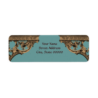 Victorian Brown & Teal address label