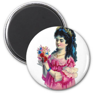 Victorian Brunette in Pink Gown with Bouquet 2 Inch Round Magnet