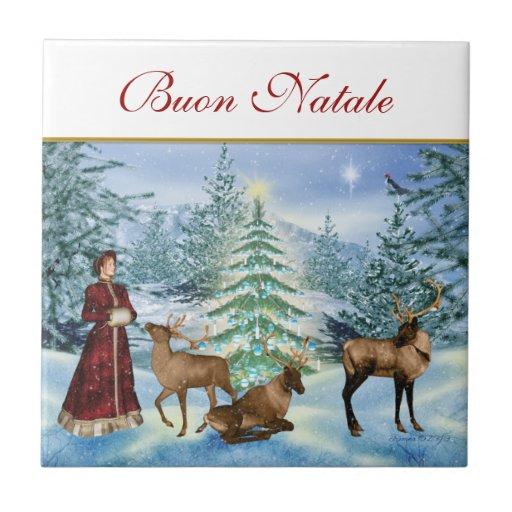 Victorian Buon Natale Ceramic Decorative Tile