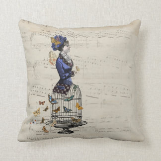 Victorian Butterfly Birdcage Steampunk Woman Tee Throw Pillow
