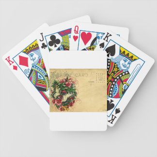 Victorian Butterfly Postcard Pink Vintage Flower Bicycle Playing Cards