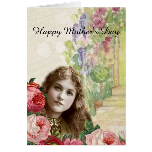 Victorian Cabbage Roses Woman Floral Card
