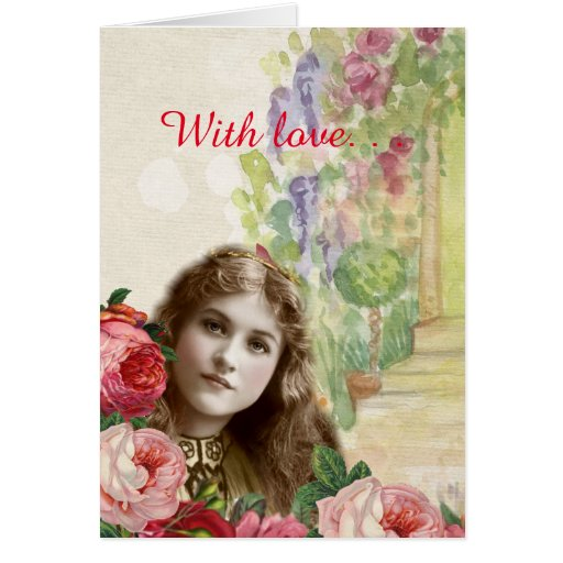 Victorian Cabbage Roses Woman Floral Greeting Card