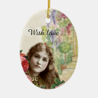 Victorian Cabbage Roses Woman Floral Ornament