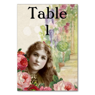 Victorian Cabbage Roses Woman Floral Tablecard Card