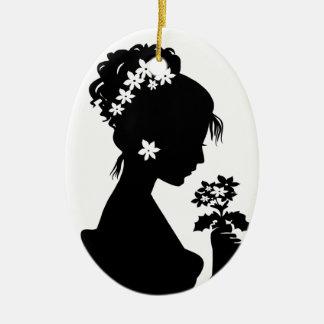 Victorian Cameo Silhouette Ceramic Ornament