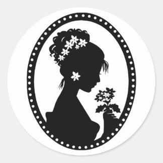 Victorian Cameo Silhouette Classic Round Sticker