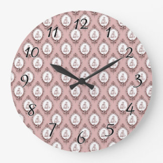Victorian Cameos Pattern Large Clock