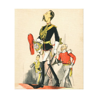 Victorian Caricature of a Captain in the Royal Hor Canvas Print