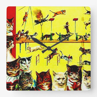 Victorian Cat Act Vintage Circus Poster Art Yellow Square Wall Clock
