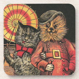 Victorian Cat and Dog Chums Beverage Coasters