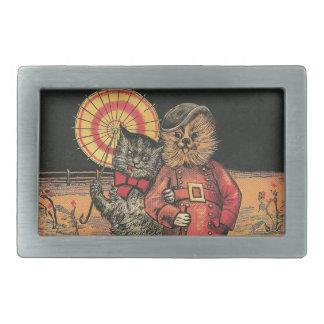 Victorian Cat and Dog Chums Rectangular Belt Buckle