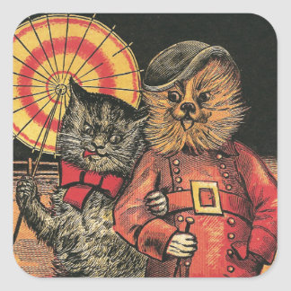 Victorian Cat and Dog Chums Square Sticker