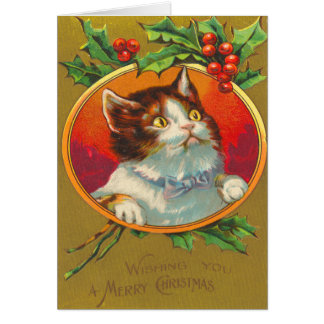 Victorian Cat Christmas Card