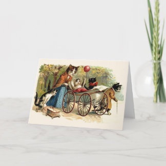 Victorian Cat Family Mother's Day Greeting Card