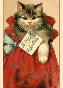 Victorian Cat In Bag Valentine's Day Card
