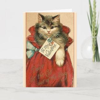 Victorian Cat In Bag Valentine's Day Card