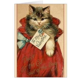 Victorian Cat In Bag Valentine's Day Card at Zazzle