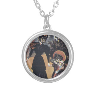 Victorian Cat Mother Daughter Round Pendant Necklace