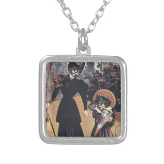 Victorian Cat Mother Daughter Square Pendant Necklace