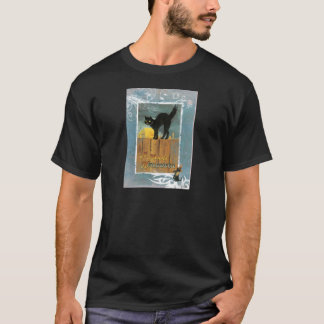 Victorian Cat On Fence Halloween Moon T-Shirt