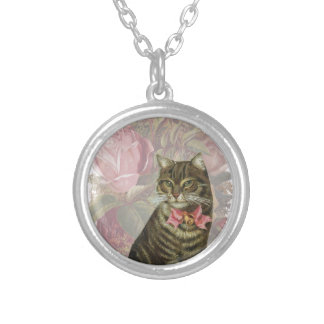 Victorian Cat Pink Roses Round Pendant Necklace