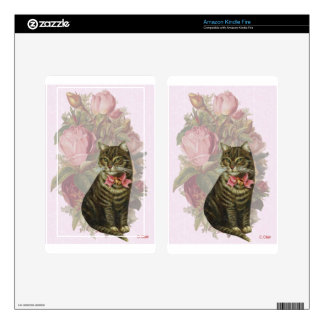 Victorian Cat Pink Roses Kindle Fire Decal