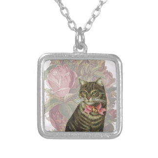 Victorian Cat Pink Roses Square Pendant Necklace