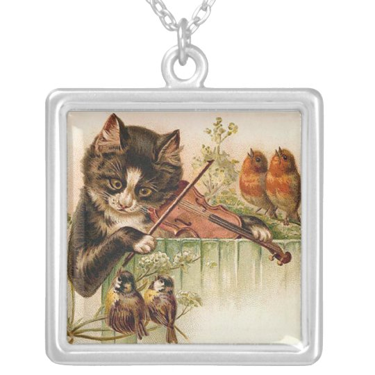 Victorian Cat Playing the Violin for Songbirds Silver Plated Necklace
