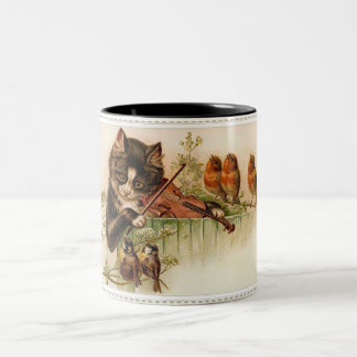 Victorian Cat Plays the Violin for Songbirds Two-Tone Coffee Mug