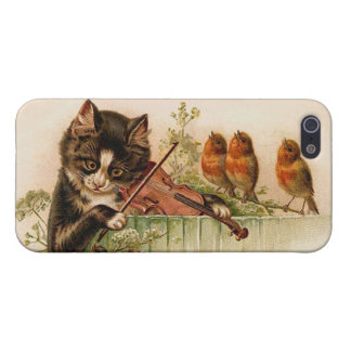 Victorian Cat Plays Violin for Songbirds iPhone 5/5S Covers