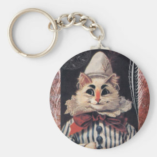 Victorian Cat Rascal Jester Striped Suit Keychain