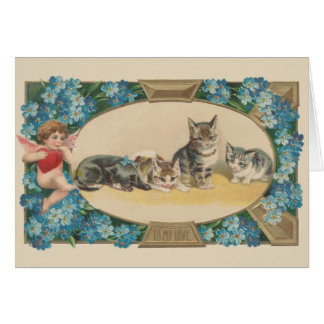 Victorian Cat Valentine's Day Greeting Card