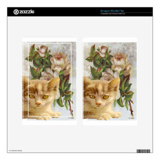 Victorian Cat With Roses Skins For Kindle Fire