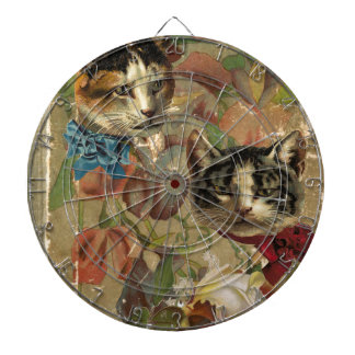 Victorian Cats Floral Rose Antique Book Dart Boards