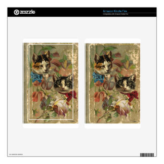 Victorian Cats Floral Rose Antique Book Skins For Kindle Fire