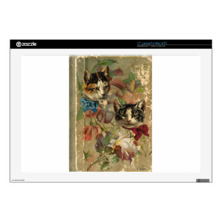 Victorian Cats Floral Rose Antique Book Skin For Laptop