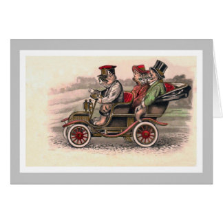Victorian Cats Head to Town - Anthropomorphic Art Card