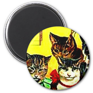 Victorian Cats Vintage Circus Act Tricks Pets Gift 2 Inch Round Magnet