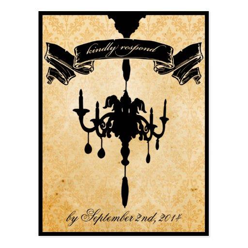 Victorian Chandelier Black Amp Cream Rsvp Postcard Zazzle