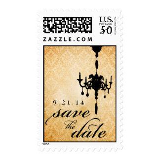 Victorian Chandelier • black & cream Save the Date Postage