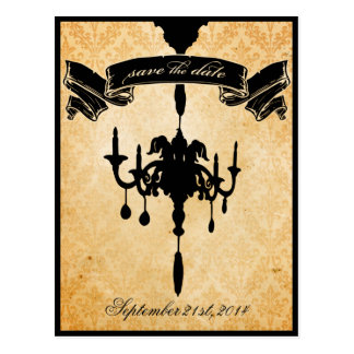 Victorian Chandelier • black & cream Save the Date Postcards